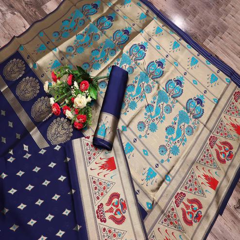 Blissful Navy Blue Colored Festive Wear Printed Banarasi Silk Saree