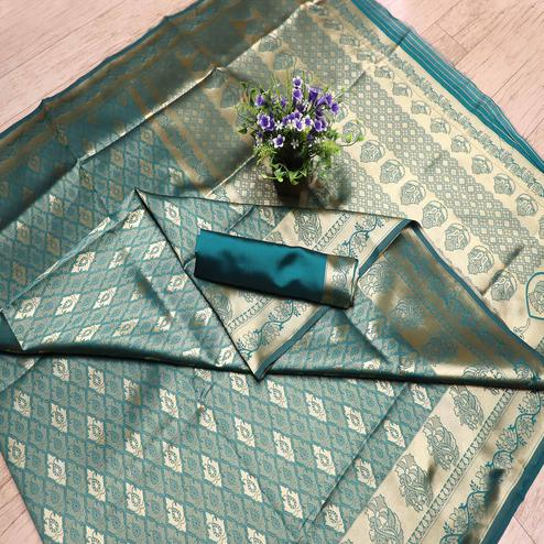 Majesty Teal Blue Colored Festive Wear Printed Banarasi Silk Saree