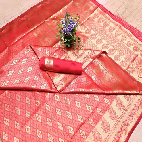 Impressive Pink Colored Festive Wear Printed Banarasi Silk Saree
