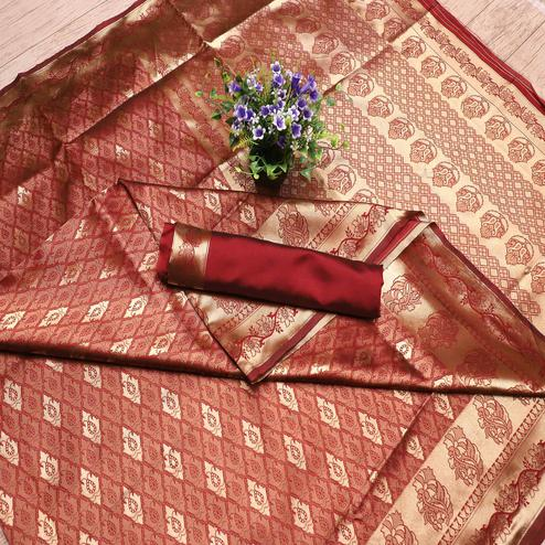 Mesmerising Maroon Colored Festive Wear Printed Banarasi Silk Saree