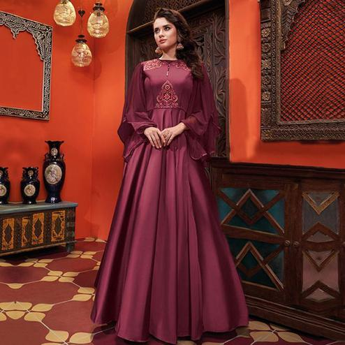 Desirable Wine Colored Party Wear Floral Embroidered Heavy Soft Silk Gown