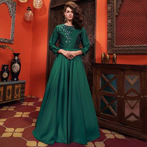 Exotic Green Colored Party Wear Floral Embroidered Heavy Soft Silk Gown