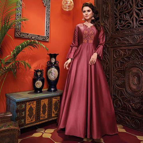 Trendy Dark Mauve Colored Party Wear Floral Embroidered Heavy Soft Silk Gown