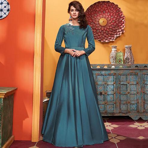 Elegant Teal Blue Colored Party Wear Floral Embroidered Heavy Soft Silk Gown