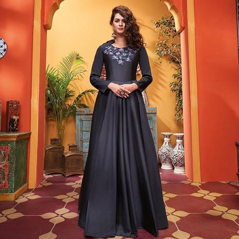 Pleasant Navy Blue Colored Party Wear Floral Embroidered Heavy Soft Silk Gown