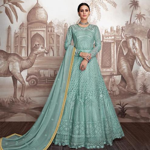 Marvellous Turquoise Colored Party Wear Floral Embroidered Heavy Georgette-Net Anarkali Suit