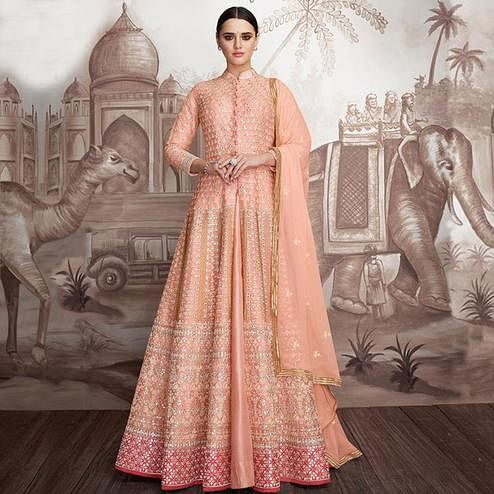 Flamboyant Peach Colored Party Wear Floral Embroidered Heavy Georgette-Net Anarkali Suit