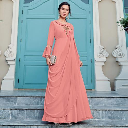 Arresting Peach Colored Party Wear Embroidered Georgette Gown