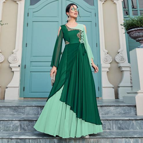 Exotic Green Colored Party Wear Embroidered Georgette Gown