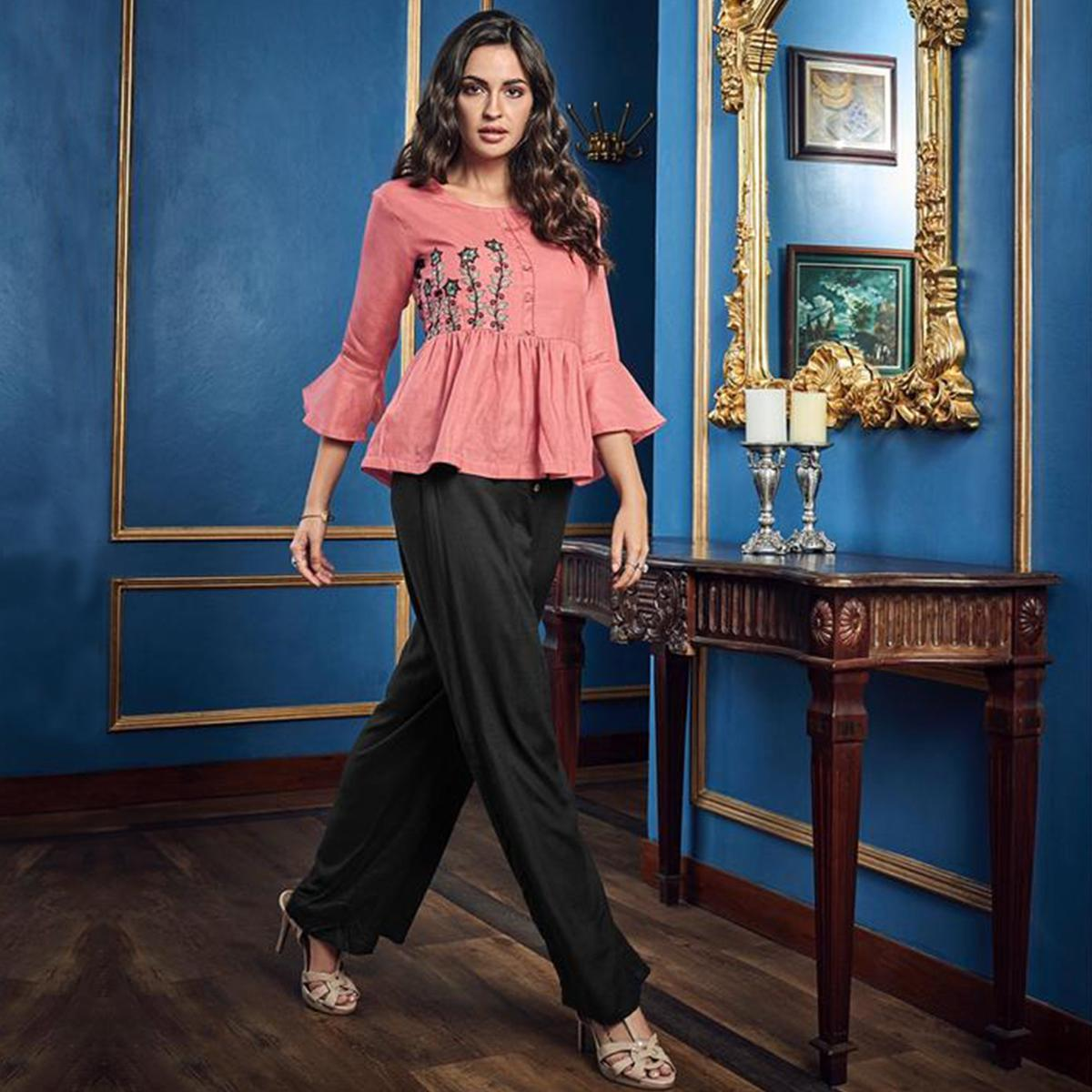 Desirable Pink-Black Colored Casual Wear Floral Embroidered Cotton-Rayon Top-Palazzo Set