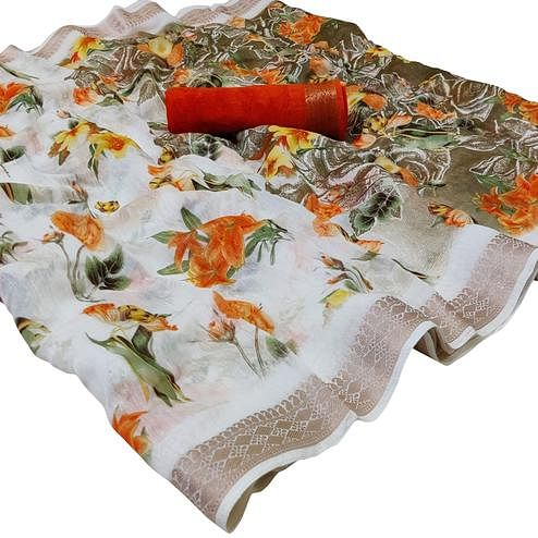 Fantastic White-Orange Colored Casual Floral Printed Cotton Saree