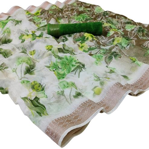 Amazing White-Green Colored Casual Floral Printed Cotton Saree