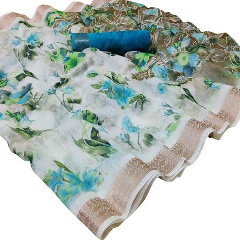 Gorgeous White-Sky Blue Colored Casual Floral Printed Cotton Saree
