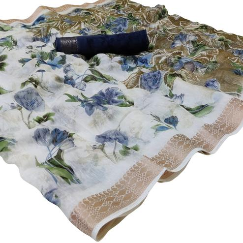 Blissful White-Navy Blue Colored Casual Floral Printed Cotton Saree