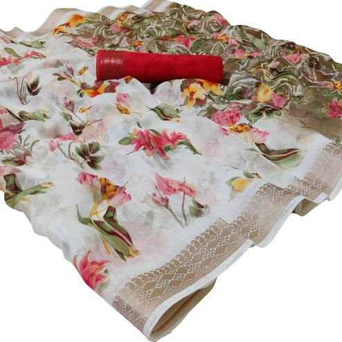 Ideal White-Red Colored Casual Floral Printed Cotton Saree