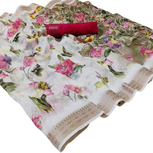 Imposing White-Pink Colored Casual Floral Printed Cotton Saree