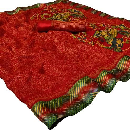 Classy Red Colored Casual Printed Kota Doria Satin Saree