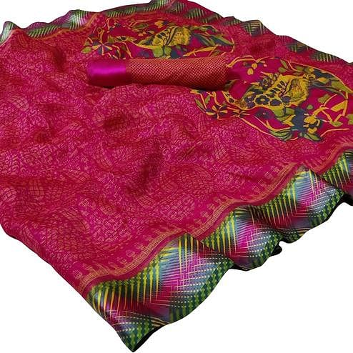 Prominent Dark Pink Colored Casual Printed Kota Doria Satin Saree