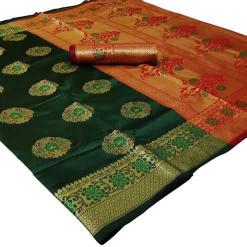 Trendy Dark Green Colored Festive Wear Woven Silk Saree