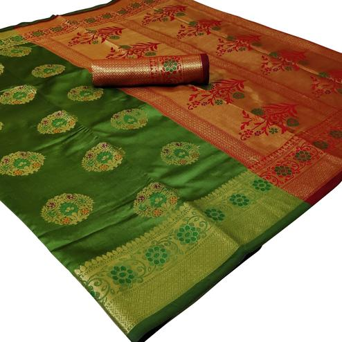 Pleasant Green Colored Festive Wear Woven Silk Saree