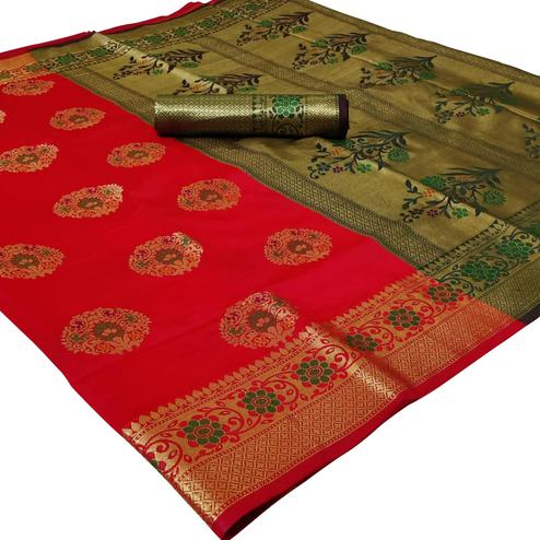 Opulent Red Colored Festive Wear Woven Silk Saree