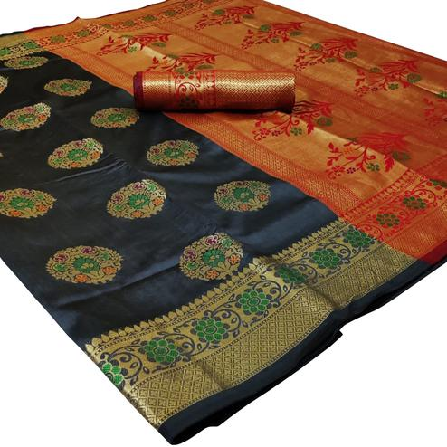 Energetic Grey Colored Festive Wear Woven Silk Saree
