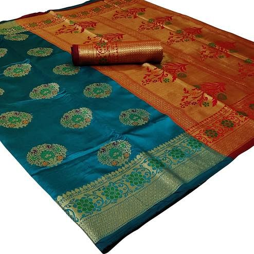 Exceptional Turquoise Blue Colored Festive Wear Woven Silk Saree