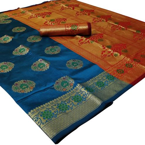 Gleaming Dark Sky Blue Colored Festive Wear Woven Silk Saree