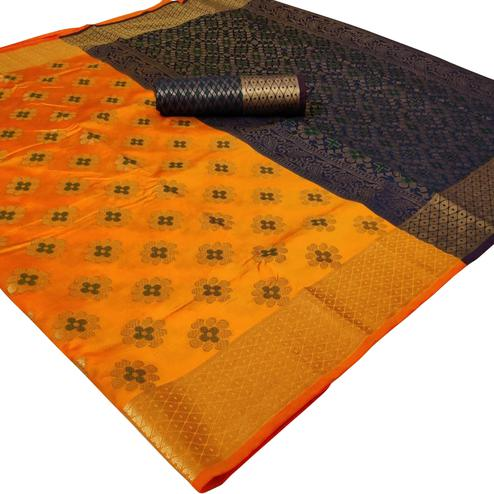 Charming Mustard Yellow Colored Festive Wear Woven Silk Saree