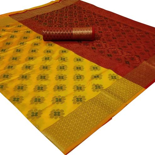 Jazzy Yellow Colored Festive Wear Woven Silk Saree