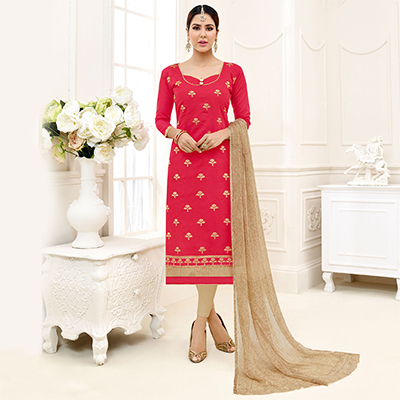 Elegant Dark Pink - Beige Floral Thread Embroidered Chanderi Silk Dress Material