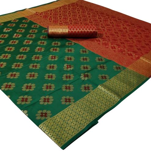 Delightful Dark Green Colored Festive Wear Woven Silk Saree