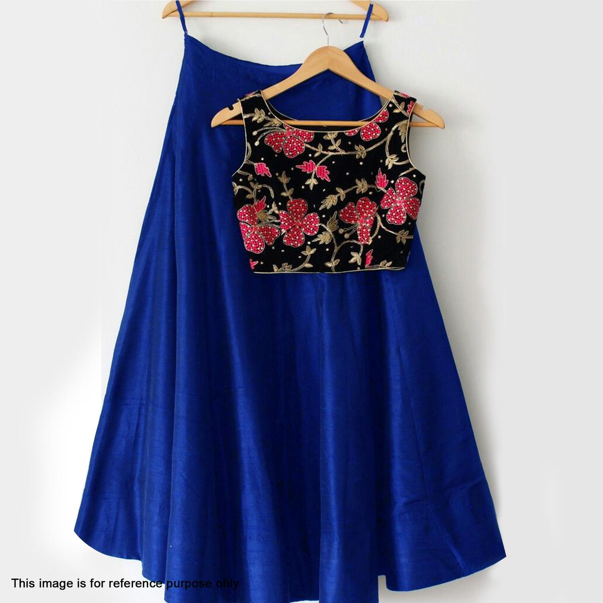 a5411531e76934 Buy Navy Blue Cotton Silk Crop Top Lehenga for womens online India ...