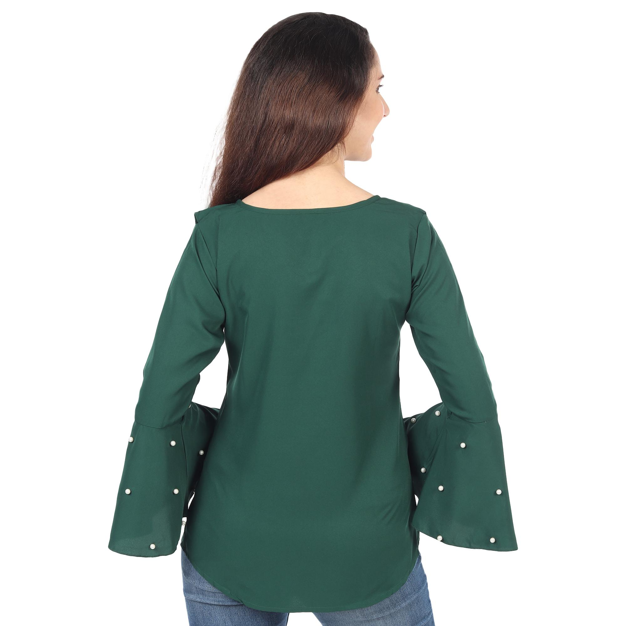 OMADAM - Dark Green Colored Casual Wear Bell Sleeve Crepe Top