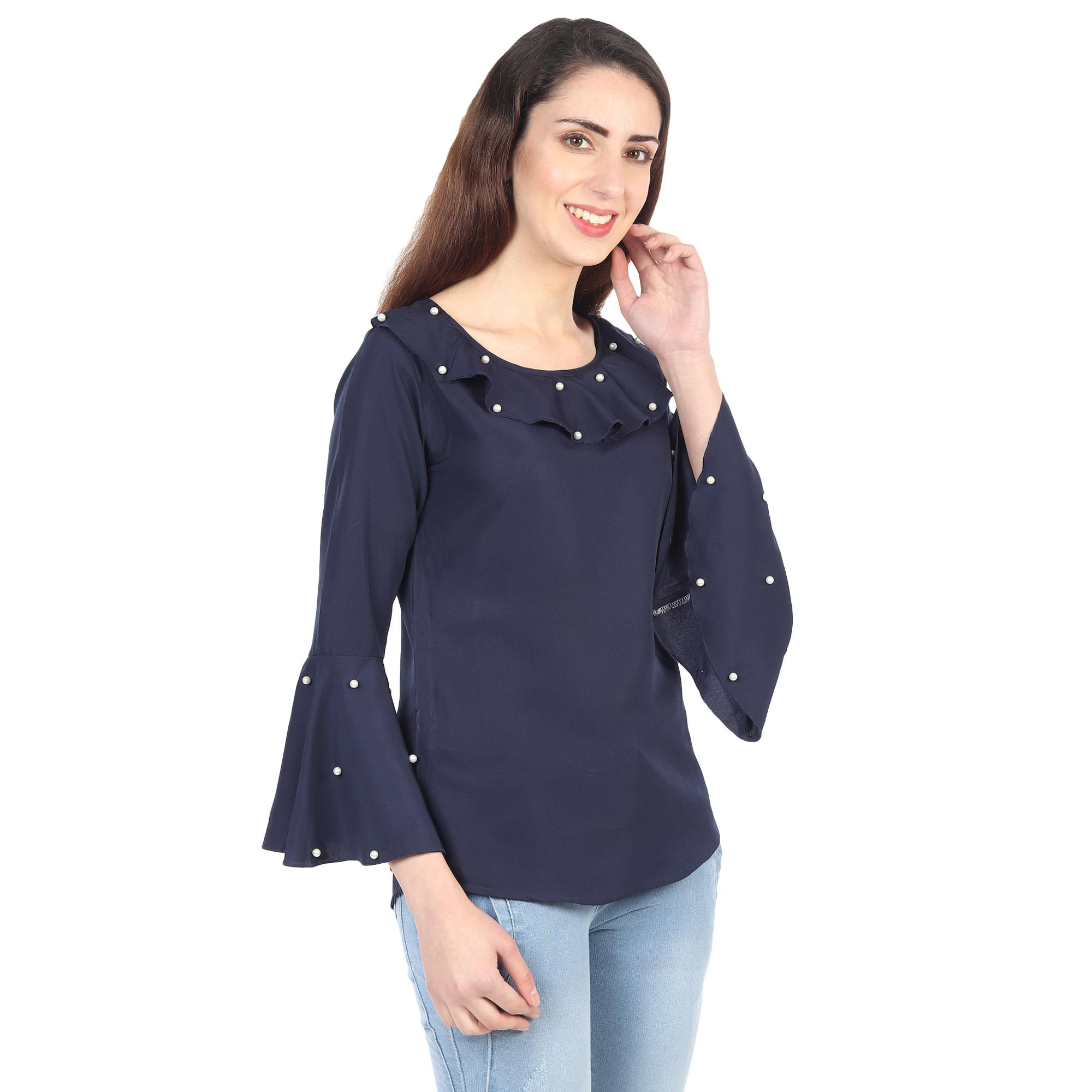 OMADAM - Navy Blue Colored Casual Wear Bell Sleeve Crepe Top