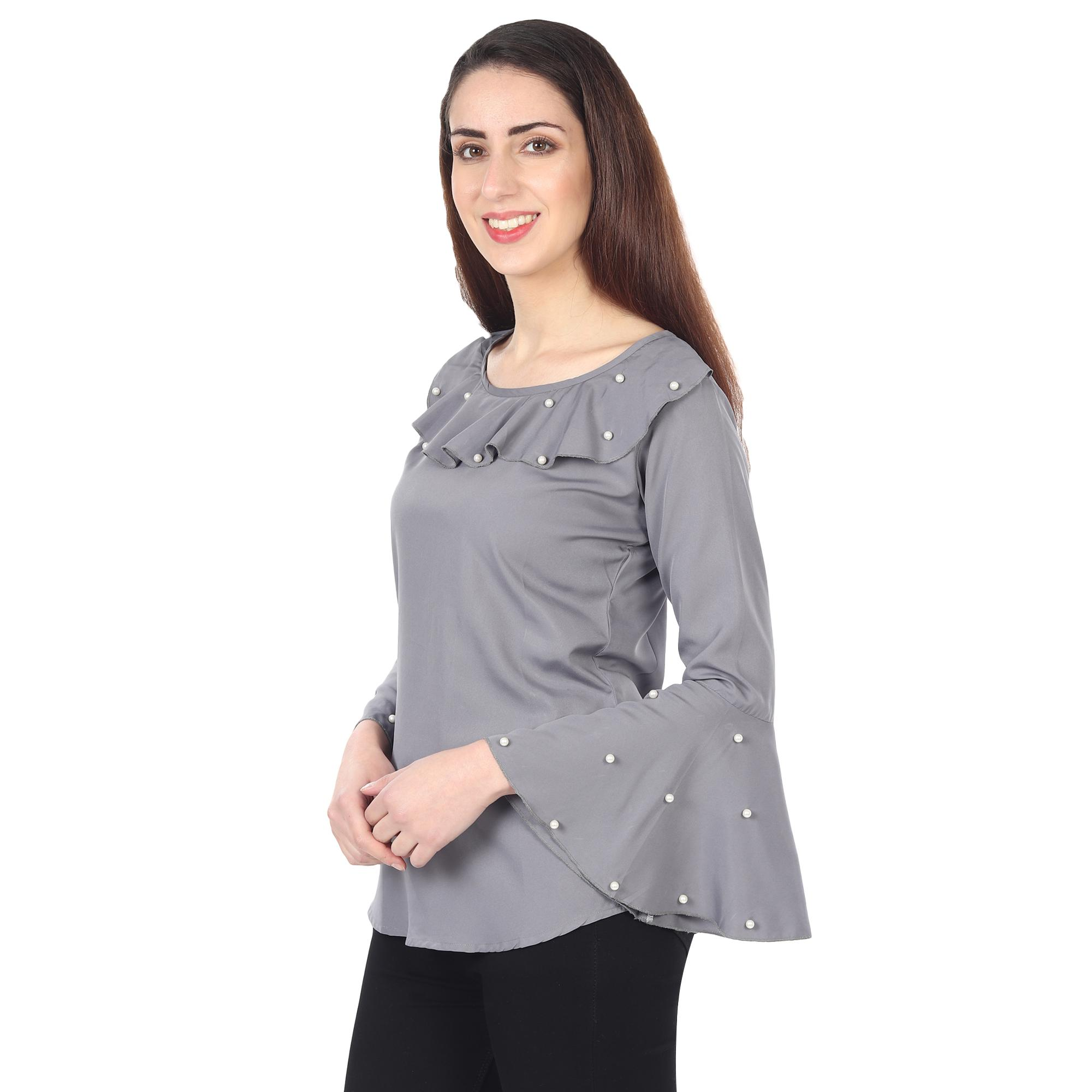 OMADAM - Grey Colored Casual Wear Bell Sleeve Crepe Top
