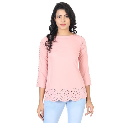 OMADAM - Pink Colored Casual Wear Crepe Top