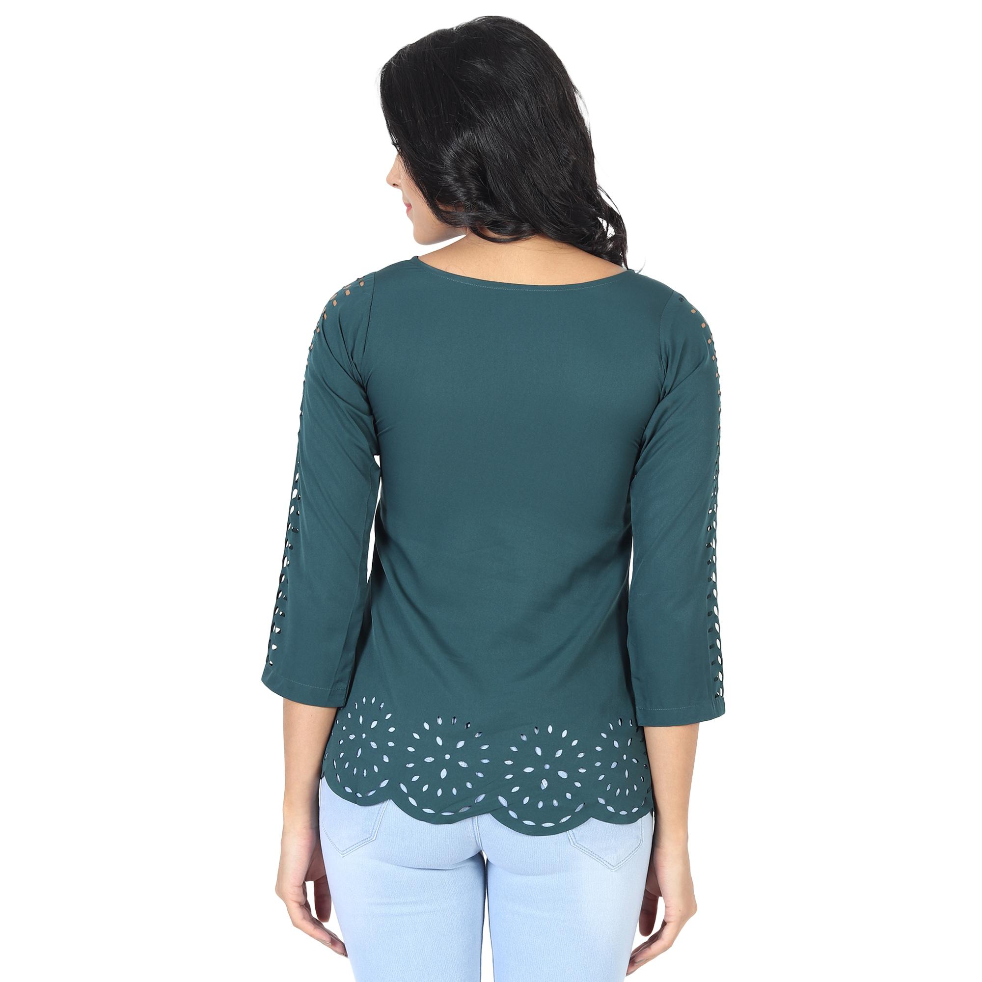 OMADAM - Teal Green Colored Casual Wear Crepe Top