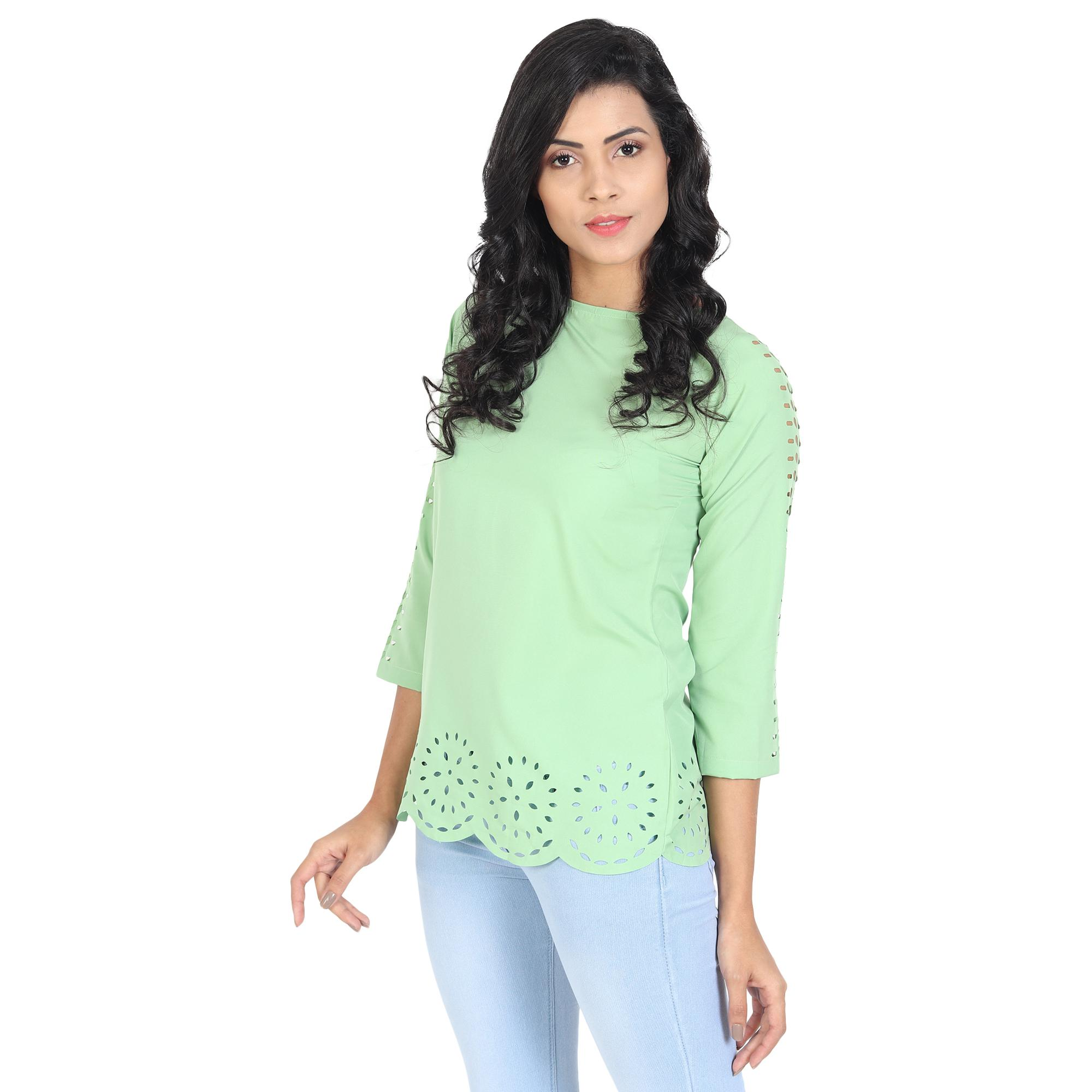 OMADAM - Light Green Colored Casual Wear Crepe Top