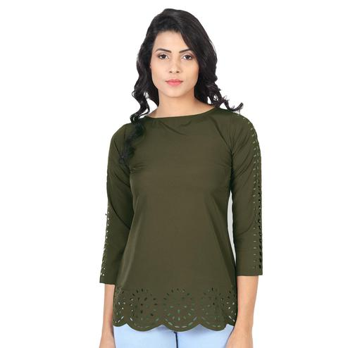 OMADAM - Olive Green Colored Casual Wear Crepe Top