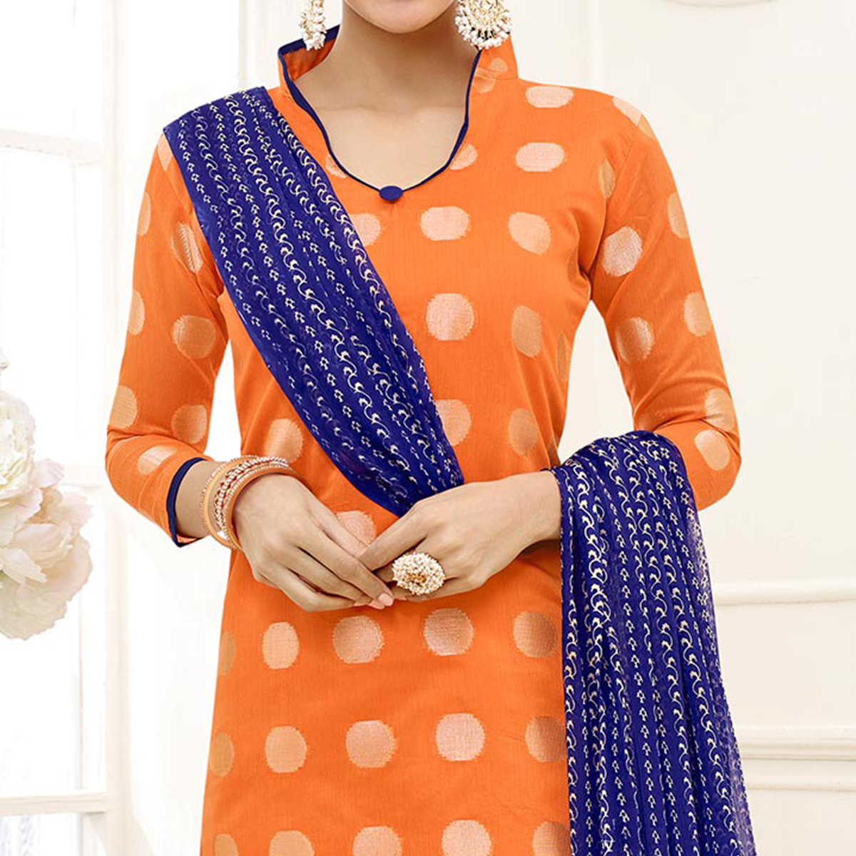 Charming Orange - Blue Floral Embroidered Chanderi Silk Dress Material