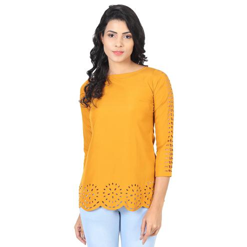 OMADAM - Mustard Yellow Colored Casual Wear Crepe Top