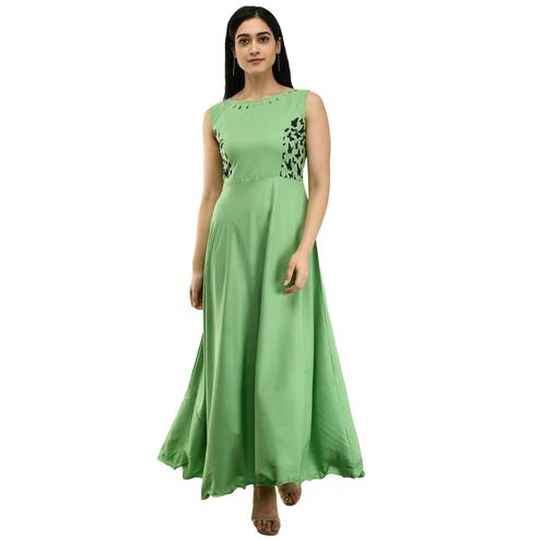 OMADAM - Green Colored Casual Wear Crepe Dress