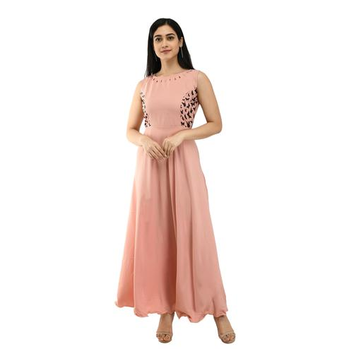 OMADAM - Light Pink Colored Casual Wear Crepe Dress