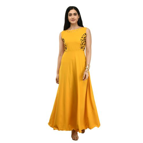 OMADAM - Mustard Yellow Colored Casual Wear Crepe Dress