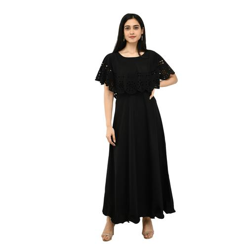 OMADAM - Black Colored Casual Wear Crepe Cape Dress