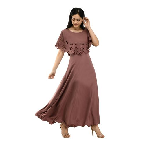 OMADAM - Brown Colored Casual Wear Crepe Cape Dress