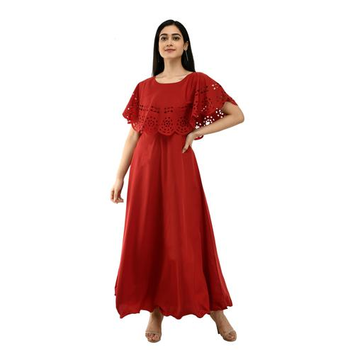 OMADAM - Red Colored Casual Wear Crepe Cape Dress