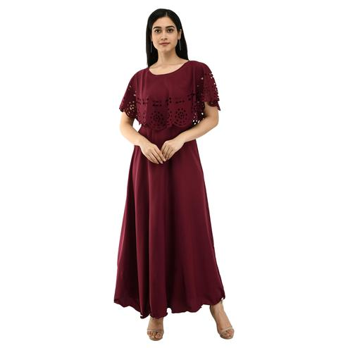 OMADAM - Wine Colored Casual Wear Crepe Cape Dress