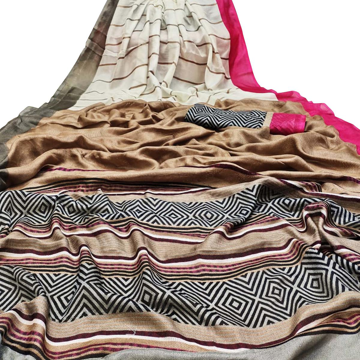 Trendy Off White-Brown Colored Casual Wear Printed Cotton Jute Saree